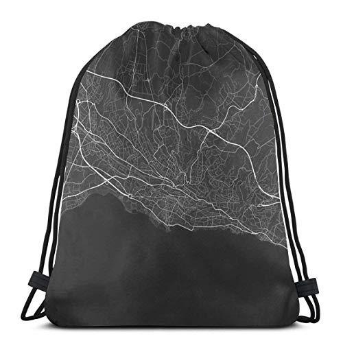 Lsjuee Mapa de Lausana, Suiza. (Blanco sobre Negro) Mochila con cordón con Estampado 3D Bolso de Hombro No Tejido Durable Sports Gym Sack Cinch Bag 16.9 x 14 Pulgadas