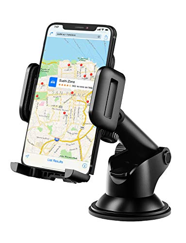 Mpow Dashboard Car Phone Mount, One-Touch Design Washable Strong Suction Cup Phone Holder for Car, Windshield Car Phone Holder Compatible with iPhone 12/11 Pro Max/XS Max/XR/X/8/7/6 Plus and More