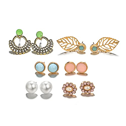 Gespout Damen Ohrringe Set Geometrische Bonbonfarbe Blume Blätter Pearl Inline Bohrer Mode Ohrringe Set Geschenk Für Freundin Familie
