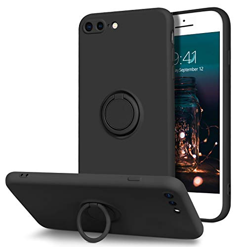 BENTOBEN iPhone 8 Plus Case, iPhone 7 Plus Case, Slim Silicone Soft Rubber with 360° Ring Holder Kickstand Car Mount Supported Protective Cases for Apple iPhone 8 Plus/iPhone 7 Plus 5.5 Inch, Black