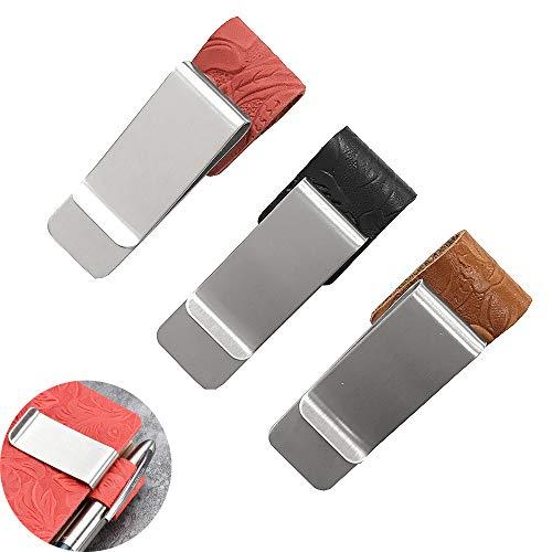 Jurxy 3 PCS Pen Loop per Notebook Retro pelle intagliata Notebook ufficiale del viaggiatore Portamatite Segnalibro con clip metallica in acciaio inossidabile - Nero Marrone Rosso