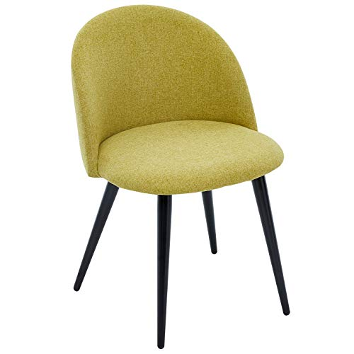 SHOWVISION Brushed Wool Feel Fabric Single Dining Chair, Padded Seat and Curvy Backrest with Sturdy Black Metal Legs, Vintage Accent Home Lounge Bedroom Counter Dressing Table Side Chair, Olive Green