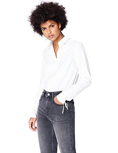Amazon-Marke: find. Damen Hemd mit Schluppen und kastenförmiger Silhouette, Weiß (White), 38, Label: M