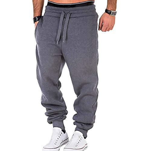Men Pants Drawstring Sweatpants Jogging Cargo Pocket Sports Tracksuit Elastic Trousers (Style-B-Dark Grey, 2XL)