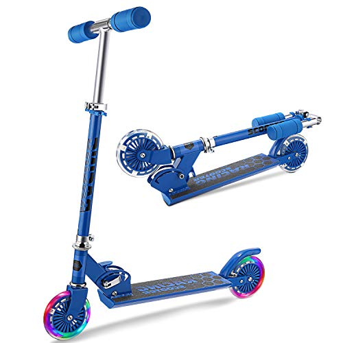 WeSkate Patinete 2 Led Ruedas para 4 a 12 Años Patinete Ajustable, Diseño Plegable, Manillar Ajustable, Carga Máxima de 110lbs (Azul 1)