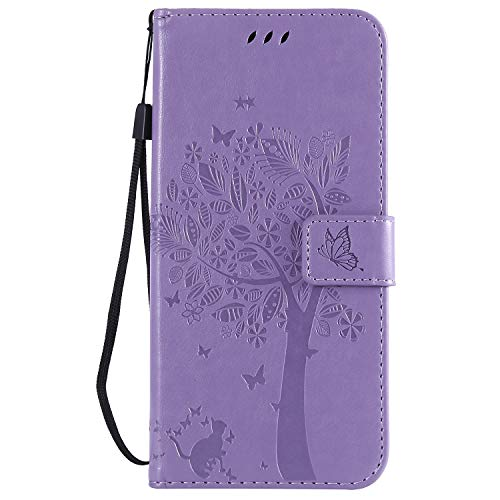 Samsung A12 Phone Case, PU Leather Flip Notebook Wallet Cover Embossed Cat Tree with Magnetic Stand Card Holder Slot Folio Soft TPU Bumper Protective Case for Samsung Galaxy A12 5G Light Purple