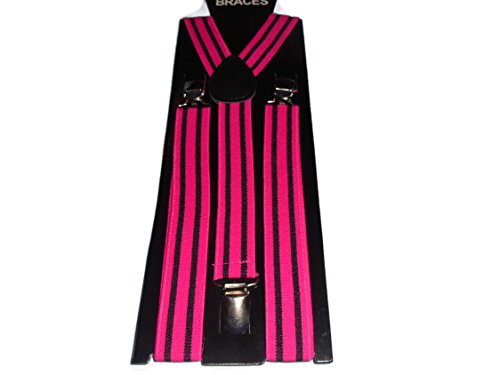 Inconnu Easy Attached Vertical Neon Pink & Black Stripe Design Adjustable Braces - Bretelles - Homme Vertical Neon Pink & Black Stripe Taille Unique