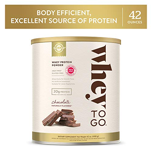 Whey To Go Protein Powder Natural Chocolate Cocoa Bean Flavor By Solgar - 41 oz