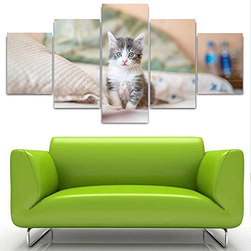nobrand muurkunst canvas decoratie 5 panelen Pet Cat afbeeldingen HD gedrukt Mooie dierschildering voor woonkamer 20x35 20x45 20x55cm geen lijst
