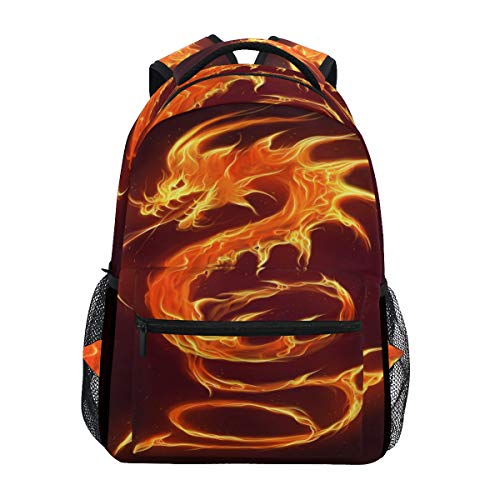 Fire Dragon Backpacks Travel Laptop Daypack School Bags for Teens Men Women