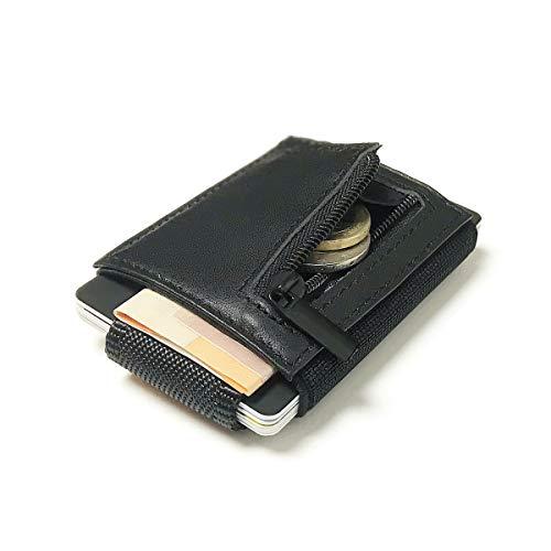 Captain Nano Kreditkartenetui abgeschirmt Geldbeutel mit Münzfach und RFID Schutz bis 10 Karten Portmonee | Echtes Leder Kartenetui | Geldbörse Portemonnaie für Herren und Damen inkl. Geschenkbox