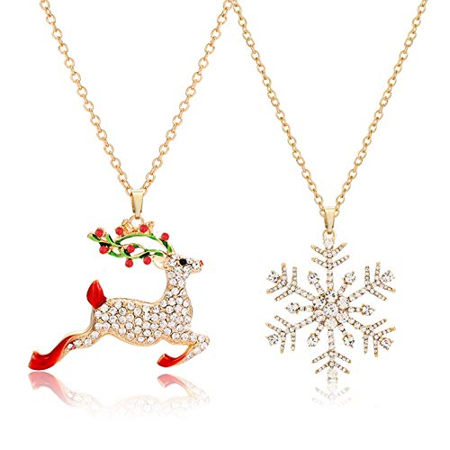NLCAC Christmas Necklace Sparky Crystal Snowflake Reindeer Pendant Necklace Xmas Santa Holiday Festival Jewelry Necklace 2 Pieces