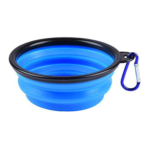 ZUOFENG Collapsible Travel Silicone Dog Cat Bowl Portable Pet Food Water Bowl, Feeding trough Portable Drinking Water Drinker with Water Hook, Easy to Carry, Save Space.(1 pcs) (s-blue)