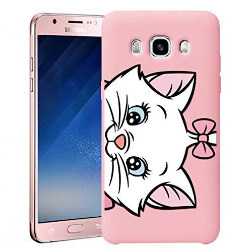 Yoedge para Samsung Galaxy J7 2016 Funda, Ultra Slim Funda de Silicona Rosa Pink con un Suave Diseño de Dibujos Animados Patrón 360 Bumper Girl Women Case para Samsung Galaxy J7 2016, Gato