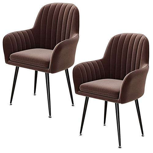 Set of 2pcs Dining Chair Comfortable Seat Velvet Fabric Upholstered Seat Black Metal Legs Dining Living Bedroom Home Office Chairs (Color : Brown)