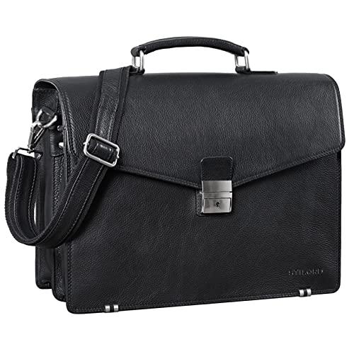 STILORD 'Cosmos' Vintage Aktentasche Leder Groß für Herren Businesstasche mit Laptop-Fach Umhängetasche XL für Büro Arbeit mit Schloss echtes Leder, Farbe:schwarz