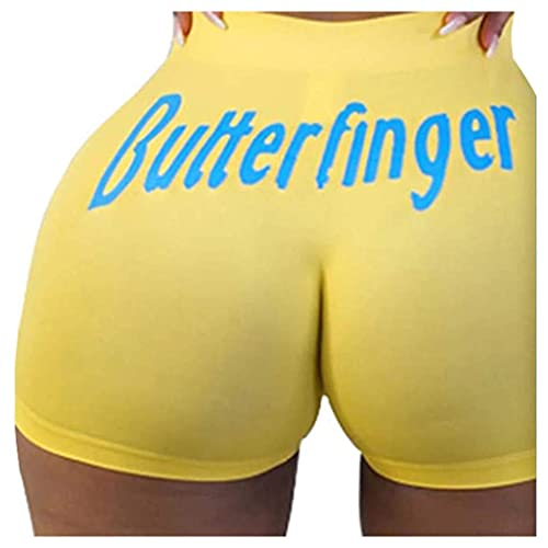 LIXHZJ Pantalones cortos de yoga para mujer, con cintura elástica, estilo informal, para verano, playa, correr, atletismo, pantalones cortos y calientes/63 (color amarillo B, tamaño: mediano)