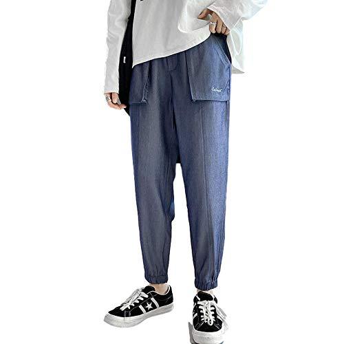 Beastle Pantalones Vaqueros para Hombre Pantalones Vaqueros Casuales Sueltos de Pierna Recta con cordón Cintura elástica Casual Pantalones Casuales Ajustables en el Tobillo 38