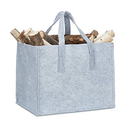Relaxdays Panier à bûches de bois en feutre, HxlxP: 34,5 x 43 x 36,5 cm, 2 poignées, pliable, porte-revues, gris