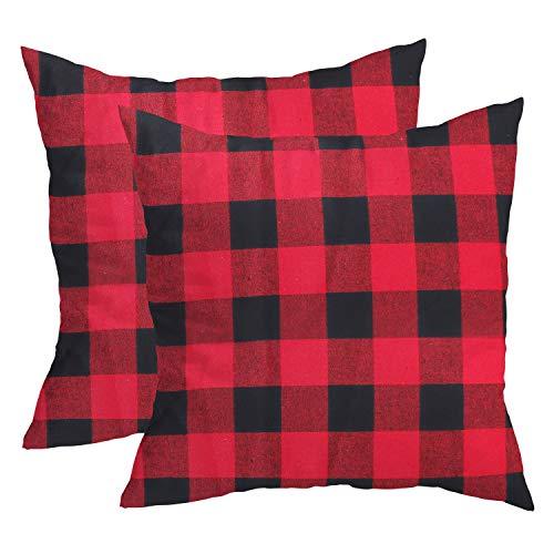 BELLE VOUS Kissenbezug (2 Stück) 45 x 45 cm Rot und Schwarz Kissenhülle Buffalo Plaid Karierter Kissenbezüge für Sofa, Schlafzimmer Dekoration