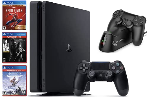 Newest Sony Playstation 4 Console 1TB Bundle: with 1 DualShock Wireless Controller, 3 Games (Spider-Man, Horizon Zero Dawn & The Last of Us Remastered Hits)+ Marxsol PS4 Controller Fast Charging Dock