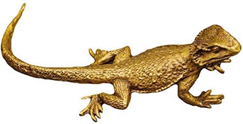 JJDSN Decoracin al Aire Libre Figura de Reptil Acentos realistas para Colgar en la Pared de Estudio de Patio de jardn, Artesanas de estatuas de Lagarto, Esculturas de Arte de Bronce Iguana Bron