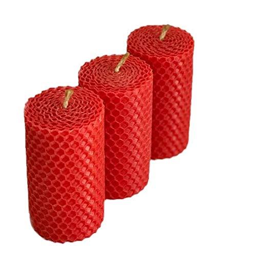 4 rote Wabenkerzen 100{f85c6c7e772a76f8cc79a5232961312b02b954f66851e9802eef25f60cfa6d8d} BIENENWACHS Kerzen Tafelkerze Adventskerze 8,5 cm hoch und 4,5 cm breit