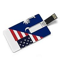 アメリカ合衆国サウスカロライナ州の国旗 American カードタイプUSBフラッシュドライブ、コンピューター/ラップトップ用のメモリースティック、映画/写真/ドキュメント/音楽32G、64G用のサムドライブデータストレージ