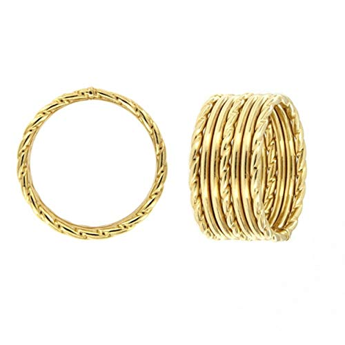 2begold Anello multifila Donna in Oro 18kt (Yellow, 12)