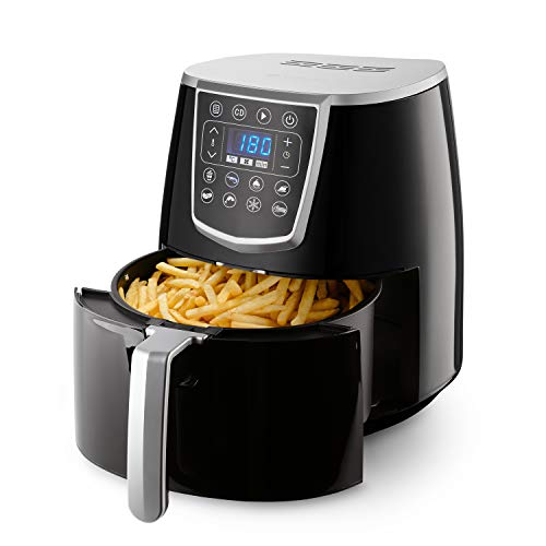 Gemlux Air Fryer XL 4L, 1400W Heißluftfritteuse Digital für Zuhause, Touch Sensoren, LED Display, 8 Garprogramme, 60 Min Timer, Friteuse ohne Öl für Gesunde Snacks, für Spülmaschinen Geeignet, AF-15