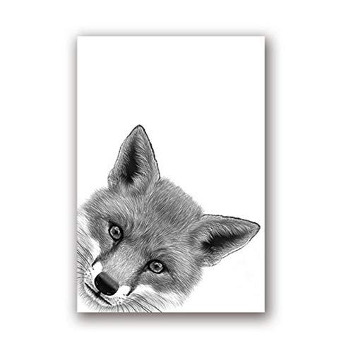 wymhzp Fuchs Zeichnung Leinwand Kunst Poster Drucke Auf Malerei Tier Peekaboo Schwarz Weiß Wandkunst Bild Malerei Kindergarten Wanddekor 40x60 cm Kein Rahmen