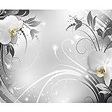 decomonkey Fototapete Abstrakt Orchidee 350x256 cm XL Tapete Wandbild Wandbild Bild Fototapeten Tapeten Wandtapete Wandtapete Blumen Muster grau weiß