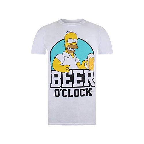 The Simpsons Herren Beer O Clock T-Shirt, Weiß (Weiß), XXL