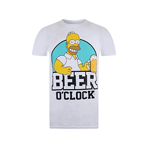 The Simpsons Beer O Clock Camiseta, Blanco (White Wht), S para Hombre