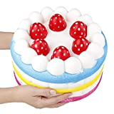 Anboor 9.1 Inches Squishies Jumbo Strawberry Cake Scented Slow Rising Kawaii Colorful Giant Food Squishies Decorative Props