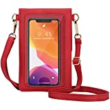 AnsTOP Lightweight Leather Mini Pouch Small Crossbody Bag Cell Phone Purse Wallet Shoulder Bags for Women, Fit with iPhone 11, X, 8 Plus (Red)