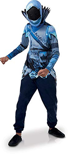 Rubie's- Official Fortnite Frozen Raven Costume Kit-Top & Mask Disfraz, Multicolor, talla única (300538NS)