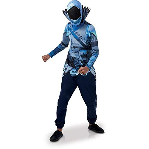 Rubie's- Official Fortnite Frozen Raven Costume Kit-Top & Mask Ragazzi, Multicolore, taglia unica, 300538NS