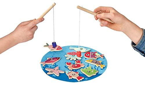 Lustiges Angelspiel | Für Kinder ab 24 Monaten | Spieleklassiker aus Holz | Koordinations- und Geschicklichkeitsspiel | Für Zwei Personen