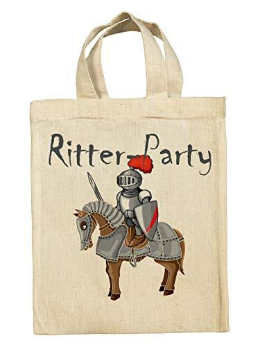 clothinx Lustige Kindergeburtstag Tasche Tüte im Set mit Geburtstag-Motto Ritter 10er Pack