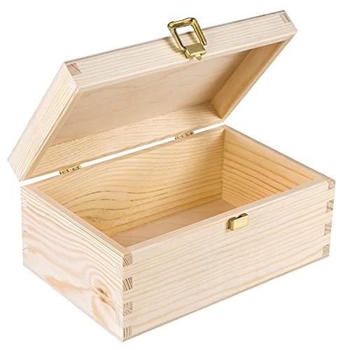 Creative DECO Pequeña Caja Madera para Decorar | 21.4 x 13.8 x 10 cm | con Tapa y Cerradura | para Decoracion Decoupage Almacenaje Objetos de Valor Juguetes Herramientas