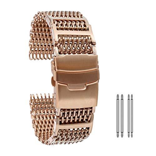Jsmhh Reloj Correa 20 mm 22 mm de 24 mm de Ancho de Reloj de Reloj Correas de Acero Inoxidable Oro/Oro de Rosa/Pulsera de reemplazo Azul Barras de Primavera Accesorios Accesorios Pulsera