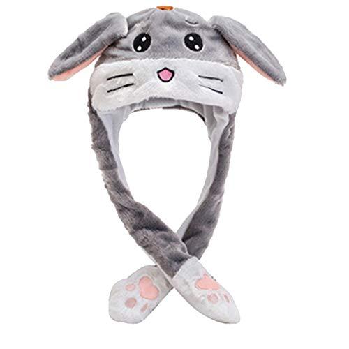 Geilisungren Mujeres niñas Divertido Sombrero de Oreja de Conejo de Felpa Juguete con Orejas móviles Lindo Sombrero de Orejas de Conejo Abrigo cálido Gorro de Cosplay Regalo de cumpleaños