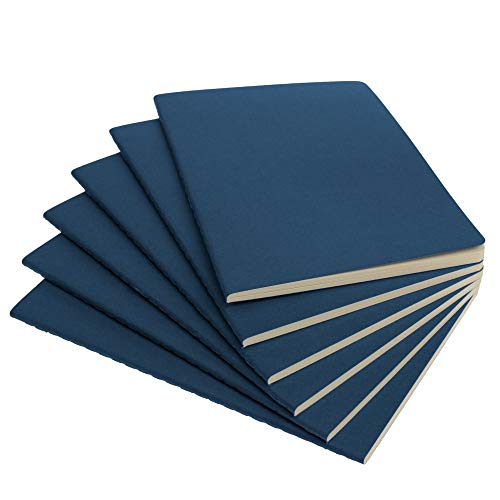 """Simply Genius (6 Pack) Travel Journal, Travelers Notebook Set: Softcover Journals to Write in for Women, Journal for Men, Writing Journal Notebook Lined, 92pg Ruled, 5.5"""" x 8.3"""", Navy"""