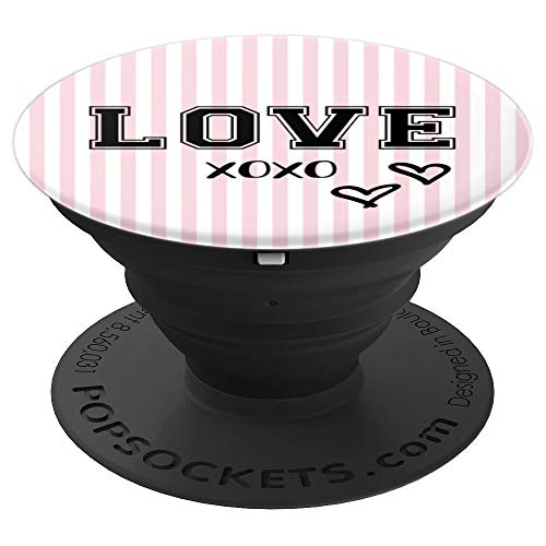 Love XOXO with Cute Hearts Pink and White Striped Valentine PopSockets Grip and Stand for Phones and Tablets