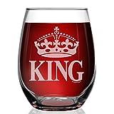 Shop4Ever Crown King Laser Engraved Stemless Wine Glass Anniversary Wedding Gift for Boyfriend Husband