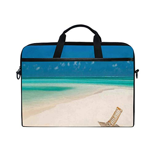 NR 15-15.4 Zoll Laptop Tasche Notebook Handtasche Umhängetasche Aktentasche,Klappstuhl auf Sandy Tropical Beach Relaxing Holidays Seascape Picture