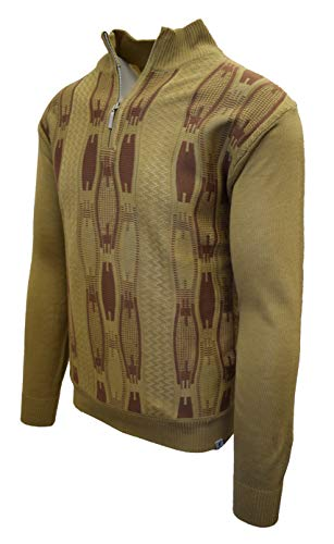 STACY ADAMS Men's Sweater, Vertical Neo Chain Front Design (4XL, Dark Beige)