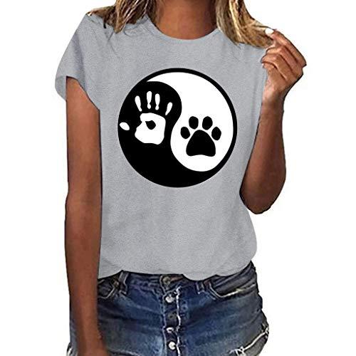 Darringls Magliette Donna Manica Corta Estive Camicia Donna Elegante Magliette Ragazza Tumblr Stampa Zampa T Shirt Donna Divertenti Slim Fit T-Shirt Maglie Blusa