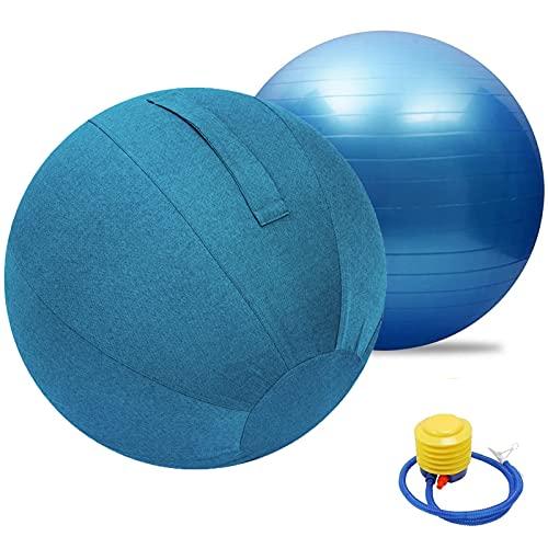 LYQCZ BalóN De Ejercicio Anti-ExplosióN, Funda para Pelota De Yoga, Pelota Pilates Protector A Prueba De Polvo, Equilibrio Resistente con Bomba RáPida para Core Force(Color:Blue Blue,Size:75cm)